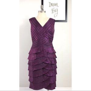 Adrianna Papell Tiered V-Neck Dress 10 Purple